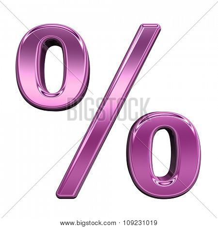 Percent sign from shiny pink alphabet set, isolated on white. Computer generated 3D photo rendering.