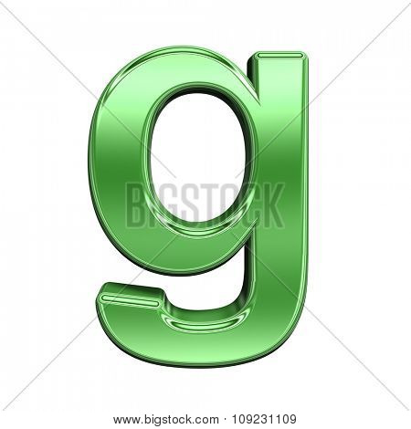One lower case letter from shiny green alphabet set, isolated on white. Computer generated 3D photo rendering.