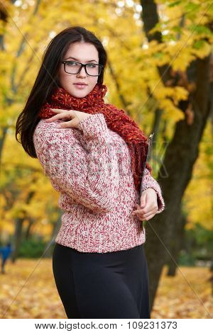 beautiful young girl portrait with glasses in yellow city park, fall season