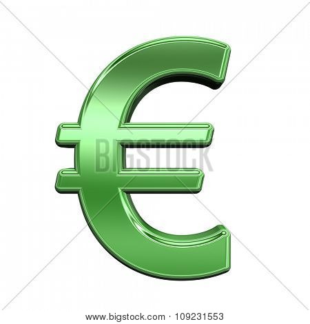 Euro sign from shiny green alphabet set, isolated on white. Computer generated 3D photo rendering.