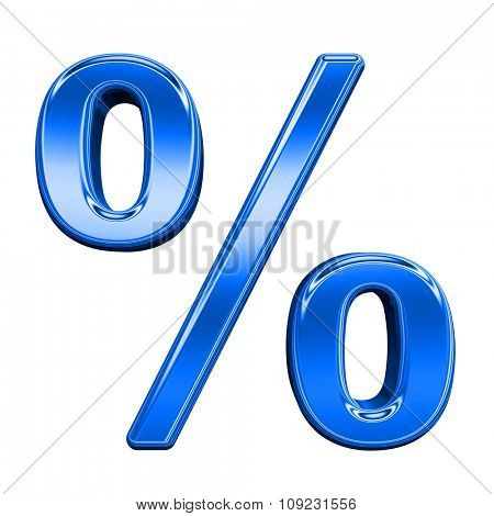 Percent sign from shiny blue alphabet set, isolated on white. Computer generated 3D photo rendering.