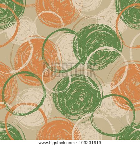 Abstract seamless pattern with chalked scribble. Vector illustration.