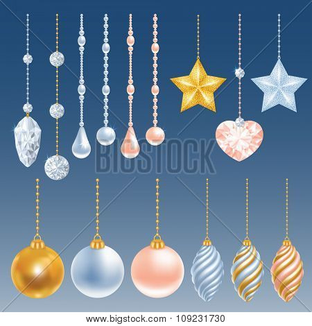 Set of different christmas decorations. Perl, diamond, christmas balls, heart, stars. Vector illustration.