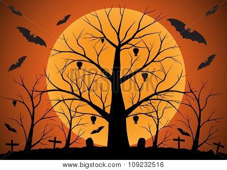 Halloween background with bats and dead trees. Vector illustration