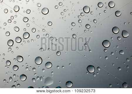 Closeup Water Drop On Glass Mirror Background.