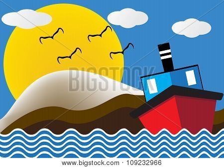 Ocean Liner Boat Ship At Sea View In Night With Big Moon And Wave. Flat Design Vector Illustration.