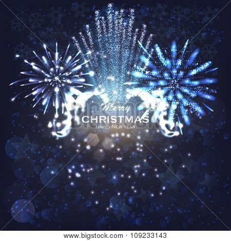Festive firework rockets bursting in big sparkling star balls poster with dark background abstract vector illustration