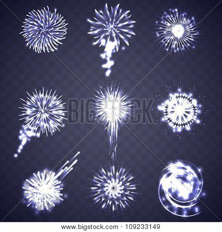 Festive blue Firework Salute Burst on Transparent Background