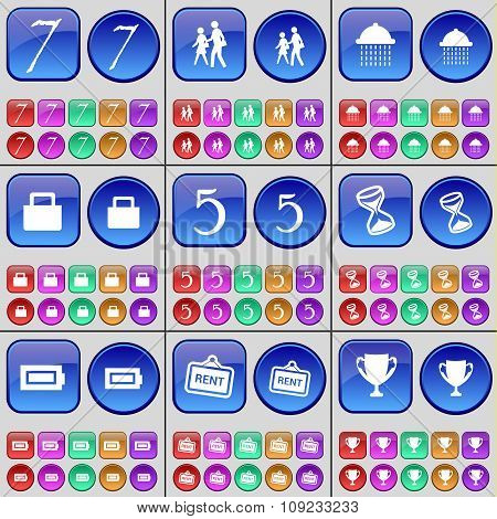 Seven, Silhouette, Shower, Lock, Five, Hourglass, Battery, Rent, Cup. A Large Set Of Multi-colored