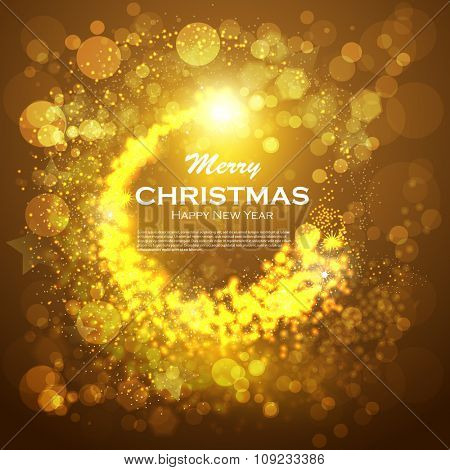 Christmas background with gold magic star. Vector illustration. Golden background christmas. Abstract Christmas background with snowflakes and place for text. Vector Illustration.