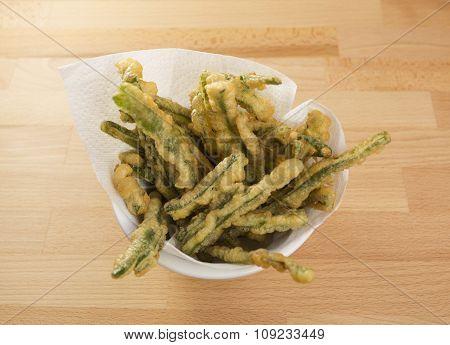 Green Beans Tempura In A Bowl