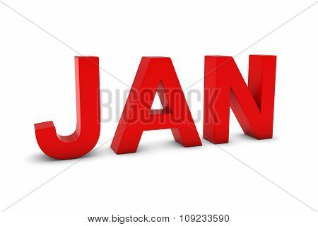 Jan Red 3D Text - January Month Abbreviation On White