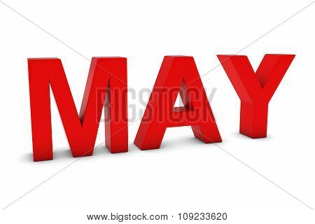 May Red 3D Text - May Month Abbreviation On White