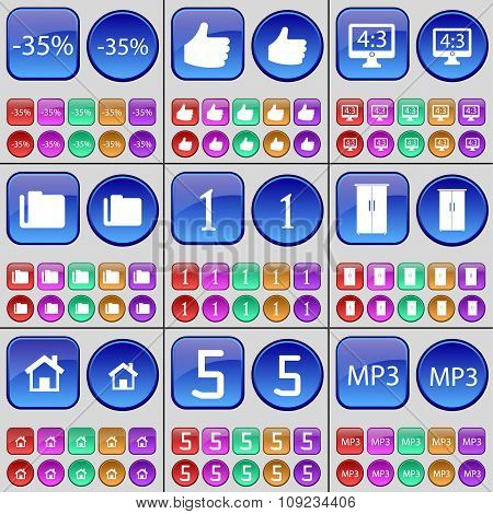 Discount, Like, Monitor, Folder, One, Cupboard, House, Five, Mp3. A Large Set Of Multi-colored