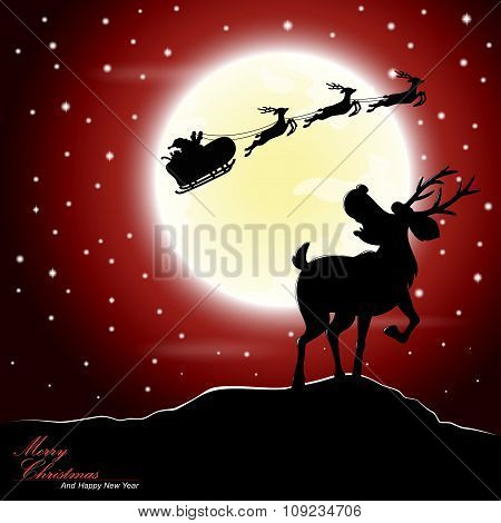 Deer afraid see Santa Claus riding a sleigh pulled by reindeer with the moon as a background