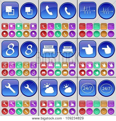 Copy, Receiver, Pulse, Eight, Bed, Hand, Wrench, Cloud. A Large Set Of Multi-colored Buttons.