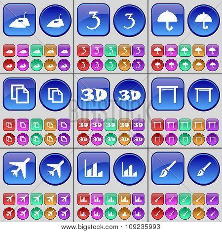 Iron, Three, Umbrella, Copy, 3D, Table, Airplane, Diagram, Brush. A Large Set Of Multi-colored