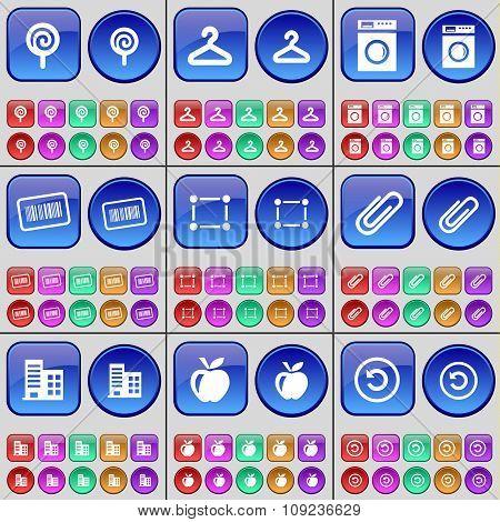 Lollipop, Hanger, Washing Machine, Barcode, Frame, Clip, Building, Apple, Reload. A Large Set Of