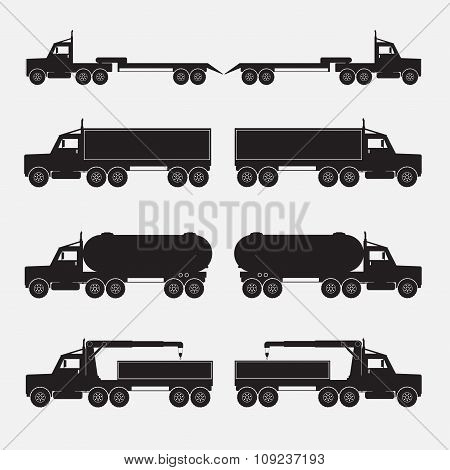Set Of Truck Trailer Black Icons. Vector Illustration.