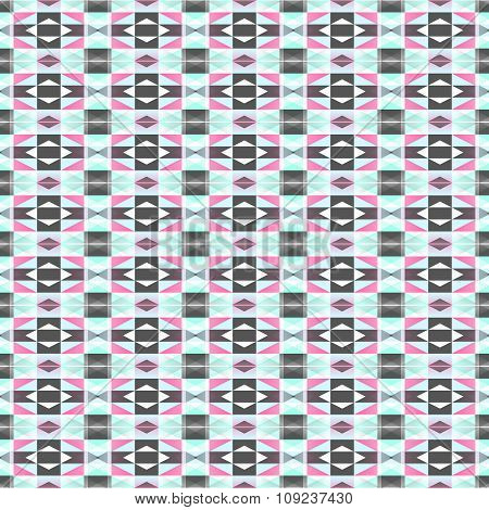 Seamless Geometrical Pattern In Pink, White, Green And Dark Grey