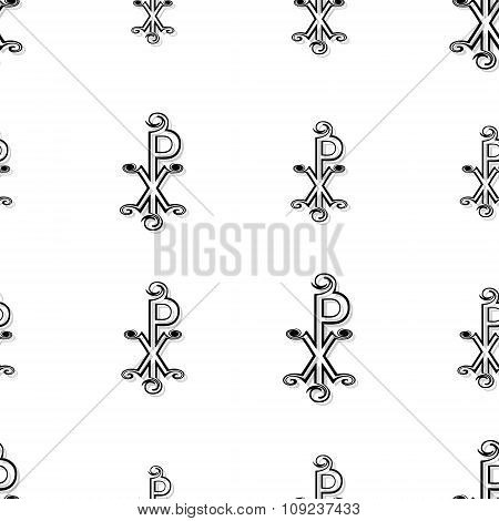 Seamless Chi Rho Pattern In Black On White