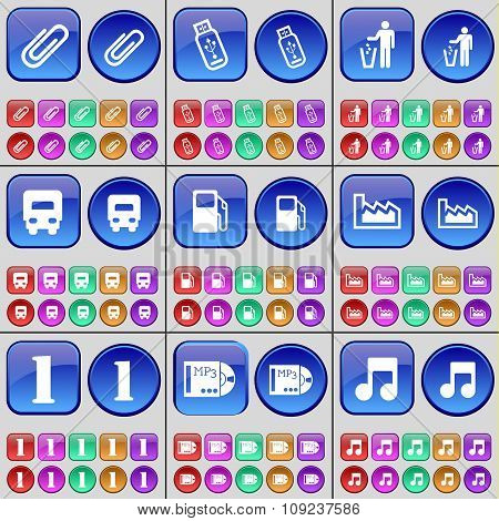 Clip, Usb, Silhouette, Truck, Gas Station, Graph, One, Mp3, Note. A Large Set Of Multi-colored