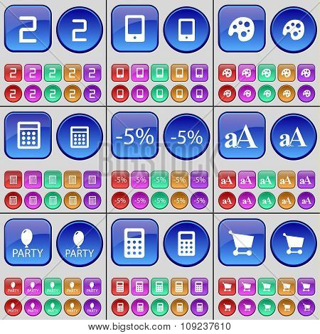 Two, Smartphone, Palette, Calculator, Discount, Font, Party, Mobile Phone, Shopping Cart. A Large