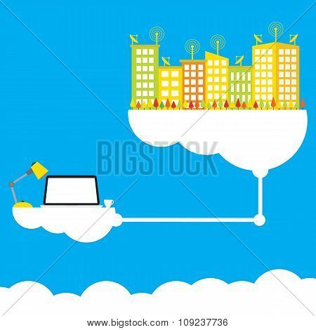 Cloud Computing Concept Design Working Anywhere Anytime Modern Business Information Technology Infra