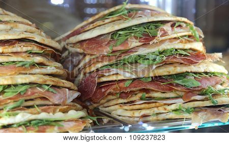 Piadina Stuffed For Sale In The Restaurant In Central Italy