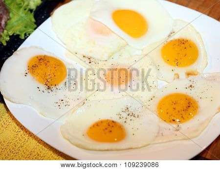 Chicken Eggs Cooked Fried To A Hearty Breakfast