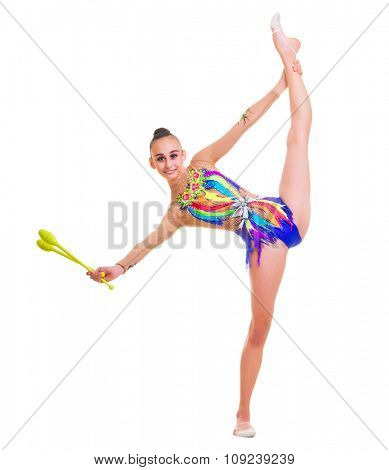 Young girl is engaged in art gymnastics isolated