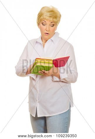 Senior woman with books isolated