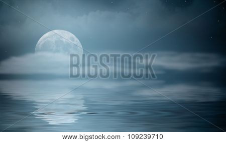 Night sea landscape with moon