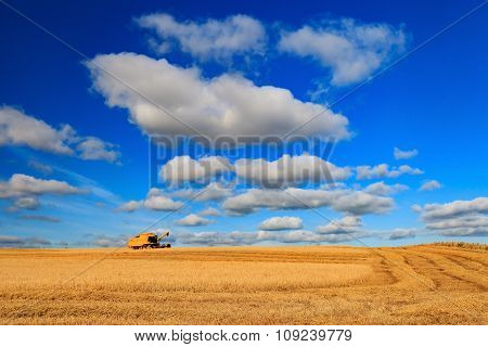 Tractor And Wheat Farm In Aberdeen, Scotland, Uk