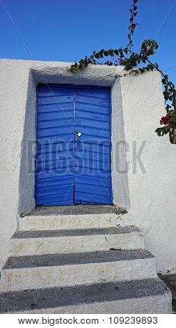 Colorful Door In Oia Village On Santorini Island