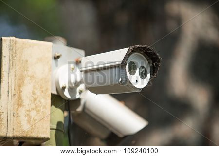 A Set Of Cctv Camera On Outdoor