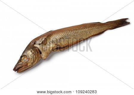 Fresh smoked whiting fish on white background