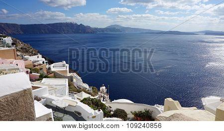 View Over Small Oia Village On Santorini Island