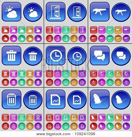 Cloud, Door, Semi, Trash Can, Clock, Chat, Trash Can, Graph, Butterfly. A Large Set Of Multi-