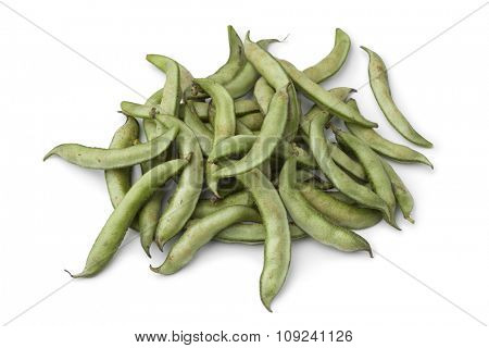 Heap  of fresh soybeans in the pod on white background