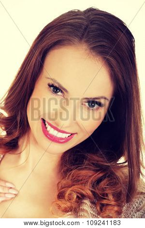Beautiful casual toothy smiling woman.