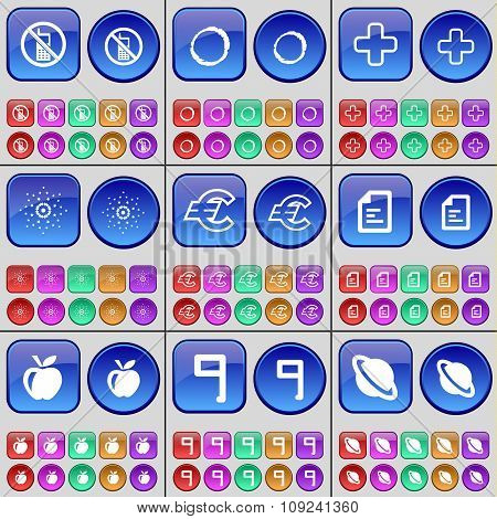 Mobile Phone, Zero, Plus, Star, Euro, Text File, Apple, Nine, Planet. A Large Set Of Multi-colored