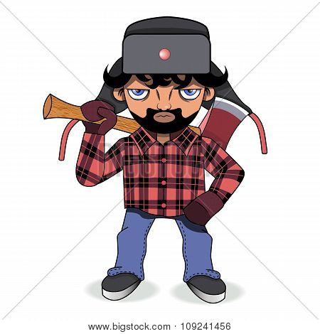 Bearded Lumberjack With An Axe On His Shoulder.