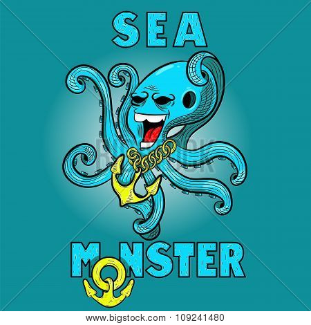 Cartoon Monster Scary Octopus Raised His Tentacles. Vector