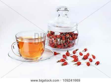 Herbal Tea From Rose Hips, Vitamin Drink, Rose Hips On The White Basis.