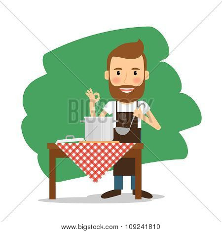 Man cooking at home