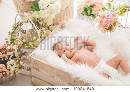 Asian Baby Girl Inside A Box With White Blanket,  Flowers Aroud The Box