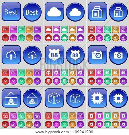 Best, Cloud, Package, Cloud, Badge, Camera, Flower, Cube, Processor. A Large Set Of Multi-colored
