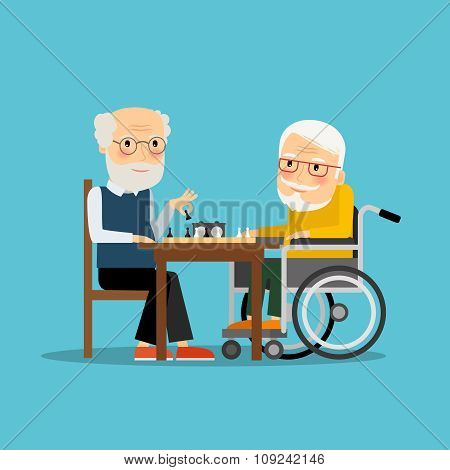 Game of chess. Two old men playing chess