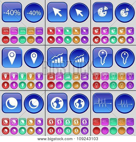 Discount, Cursor, Pizza, Checkpoint, Graph, Key, Moon, Earth, Pulse. A Large Set Of Multi-colored Bu